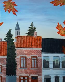 'Een Herfstige Ochtend In Een Vlaamse Straat'