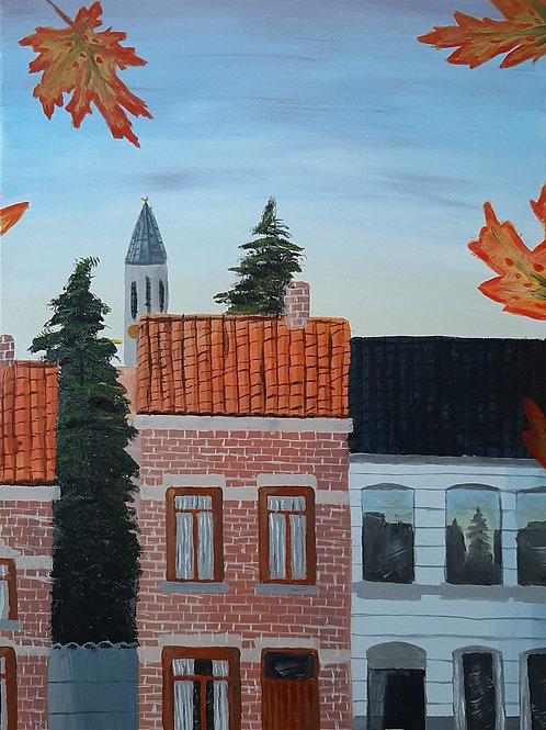 Een Herfstige Ochtend In Een Vlaamse Straat