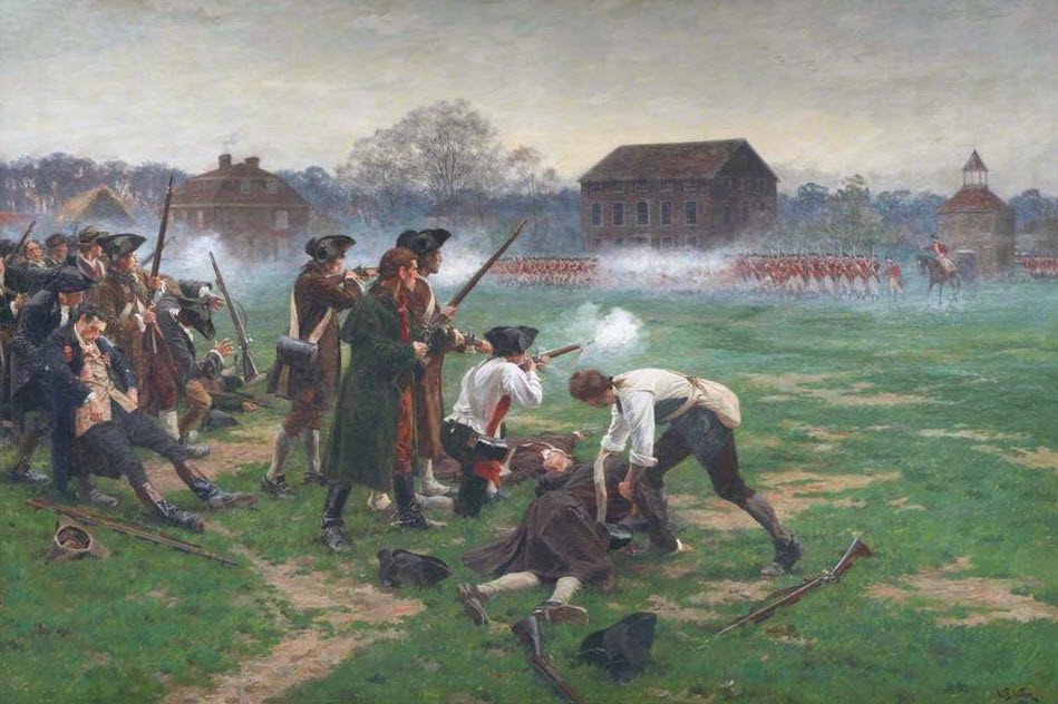 American colonists fight British redcoats April 19, 1775
