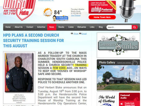 North Carolina Police Dept. Announces Free Church Safety Seminar... News Release Apparently Typed by