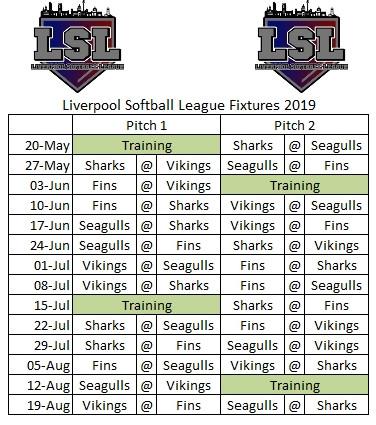 Liverpool Softball League Fixtures 2019