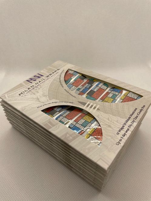 Milan Nail Wraps- Glittery Mondrian