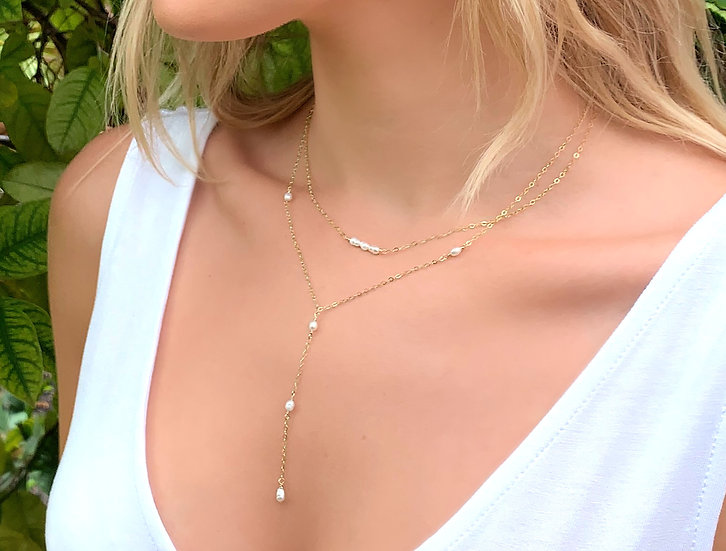 PEARL LARIAT NECKLACE AND CHOKER