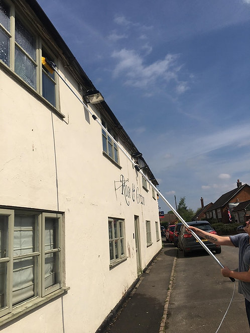 18FT Water Fed Window Cleaning Pole, Hose Fed Window Cleaning Brush