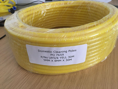 30 Meter Yellow PVC Tube, 5mm ID x 8mm Water Fed Pole /Air Hose Pipe