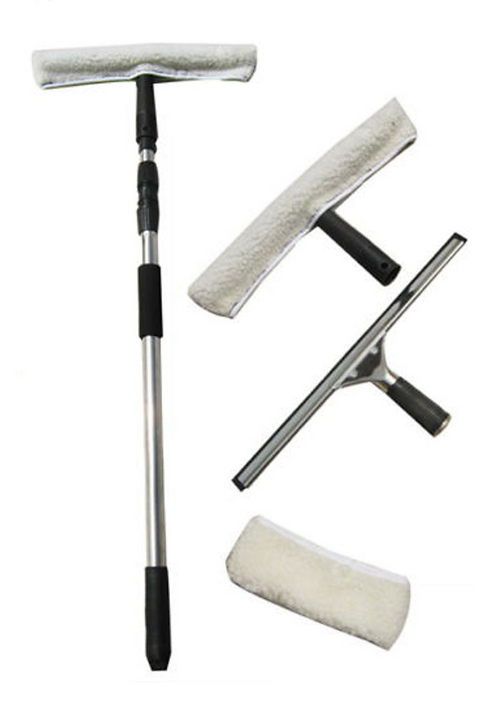 Window Washing Kit Equipment with Pole & Squeegees Telescopic Cleaner