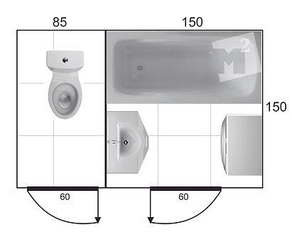 проект раздельной ванной комнаты