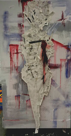 oil paint, fabric,heavy weight paper