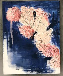 Yarn, embroidery thread, oil paint