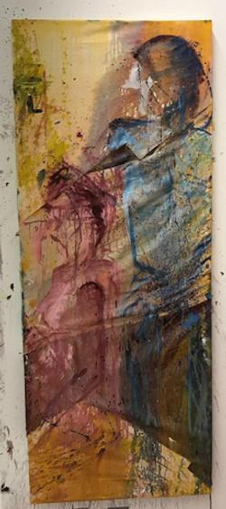 oil paint on various fabrics