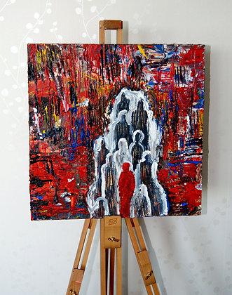 """Red """"Rädd"""" Alone (40x40cm)"""