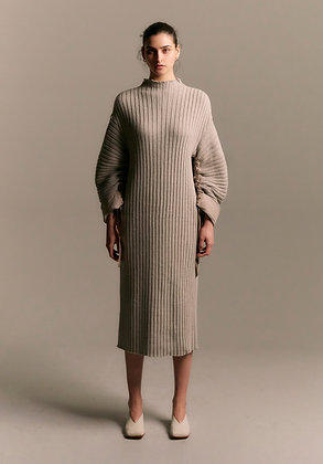 Goen.J Balloon Sleeved Chunky Ribbed Cotton Dress