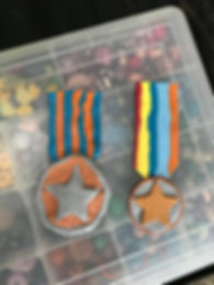 Reuben Seeds Home made clay VE Day medal