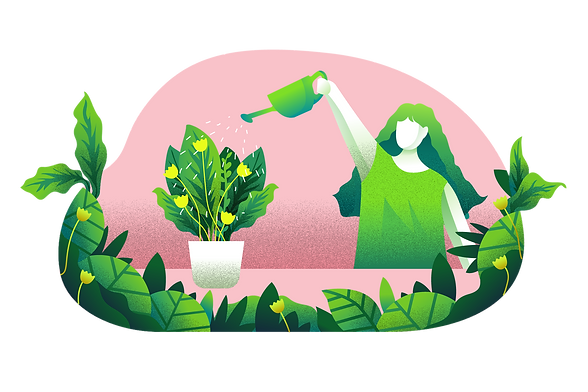 Vector Illustration_Watering The Plants.