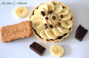 Tartelettes chocolat-banane sur croquant au Spéculoos