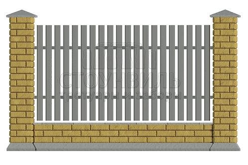 Забор Brick+Евроштакетник+фундамент,высота 1.5м*
