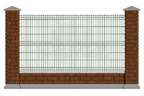 Забор Brick+3D сетка+фундамент, высота 1.5м*