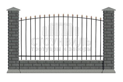 "Забор Brick+Ковка""15-00""+фундамент, высота 1.5м(без монтажа)"