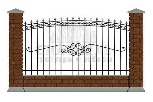 "Забор Brick+Ковка""15-51""+фундамент, высота 1.5м*"