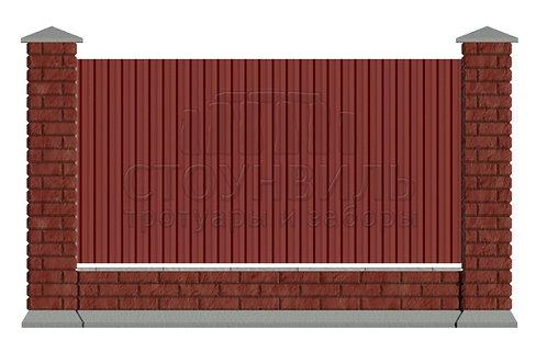 Забор Brick+Профлист+фундамент, высота 1.5м*