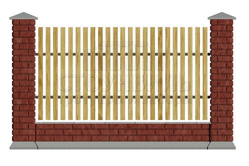 Забор Brick+штакетник+фундамент, высота 1.5м*