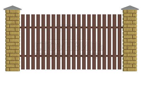 Столбы Brick+Евроштакетник, высота 1.5м*