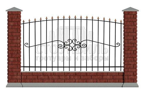 "Забор Brick+Ковка""15-50""+фундамент, высота 1.5м*"