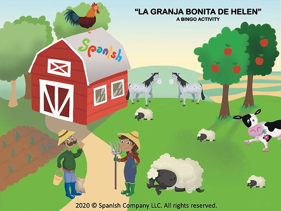 Farm Bingo: A Game on Vocabulary, Descriptions, & Actions (Spanish)