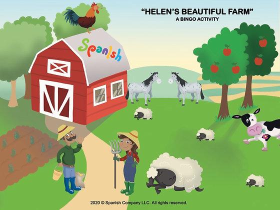 Farm Bingo: A Game on Vocabulary, Description, & Actions (English)