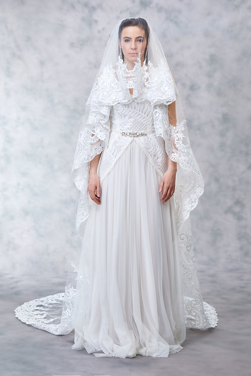 Lacey - Wide Lace Veil
