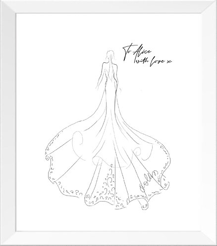 Framed Veil & Dress Sketch