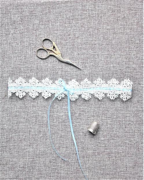 Tilda - Blue Ribbon & Lace Garter