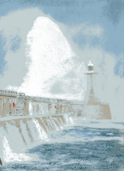 Storm at Tynemouth Pier