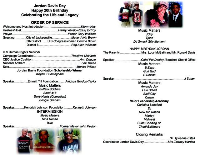 2015 Program Inside of Jordan Davis event book