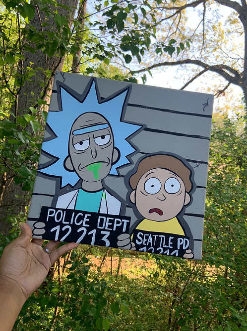 """""""Look up Morty, Say cheese"""" Canvas Painting"""