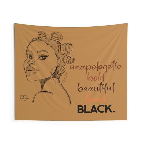Brown Skin, Bantu Knots Indoor Wall Tapestries
