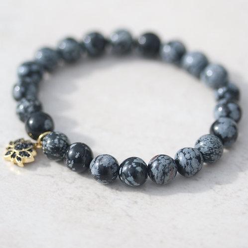 Black and grey Obsidian bracelet