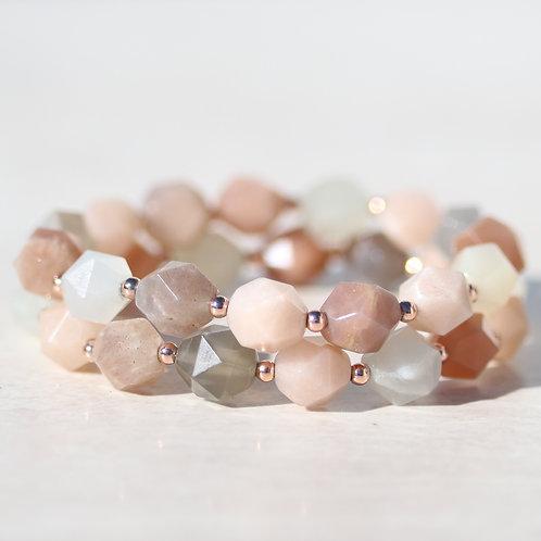 Faceted Moonstone and rose gold bracelet