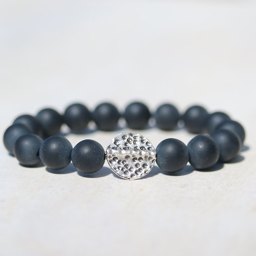 Black matt Onyx and silver bracelet