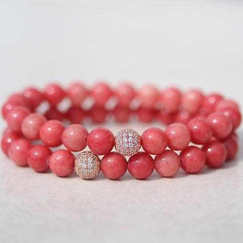 Coral coloured Mountain Jade stone bracelet