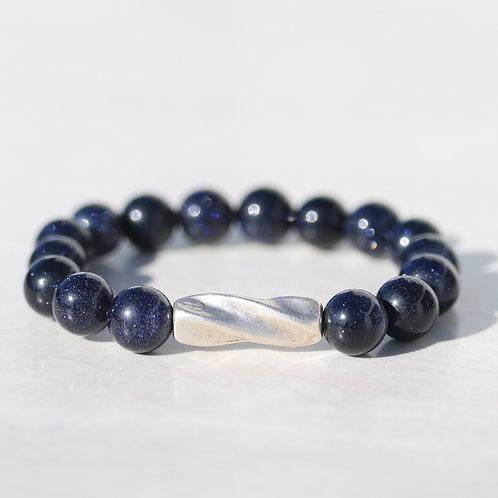 Large (10mm) blue Goldstone bracelet