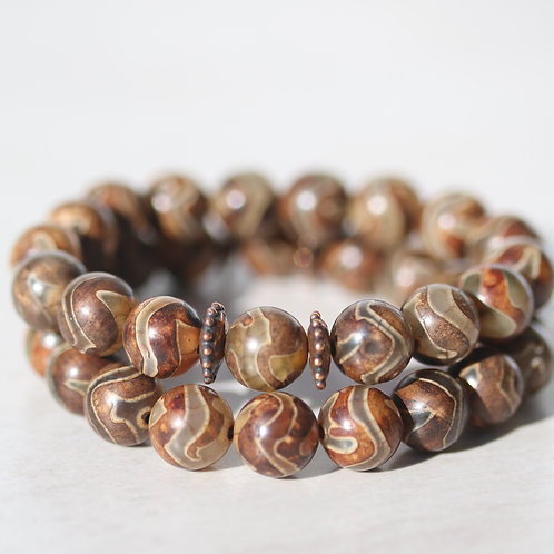 Smooth round Wave Agate stone bracelet