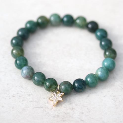 Natural green Moss agate bracelet
