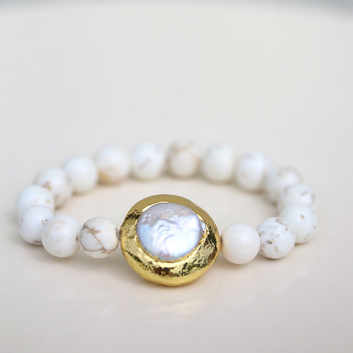 Large Fossil stone bracelet with natural freshwater pearl bead