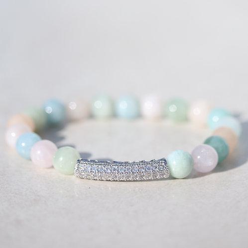 Stunning Morganite gemstone bracelet with silver tube