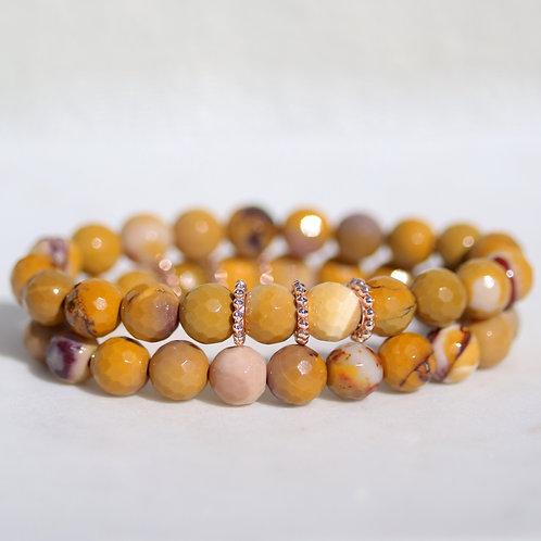 Faceted Mookite stone bracelet