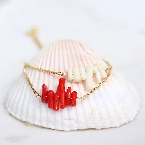 Natural Coral on an adjustable gold plated chain