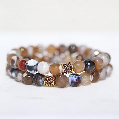 Rustic brown Agate bracelet