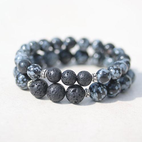 Black Snowflake Obsidian stones bracelets
