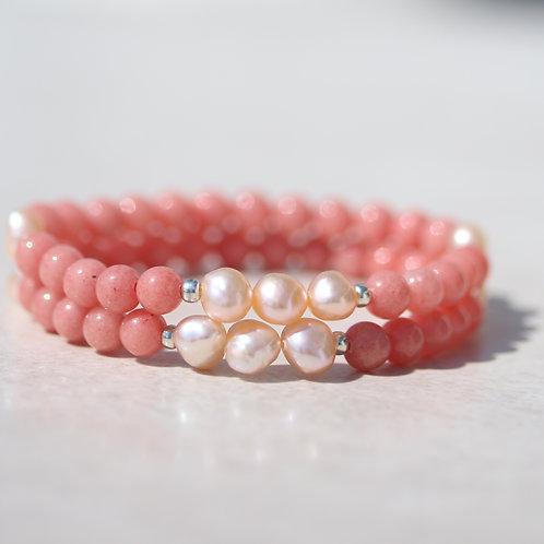 Pink Jade stones and freshwater pearl bracelet